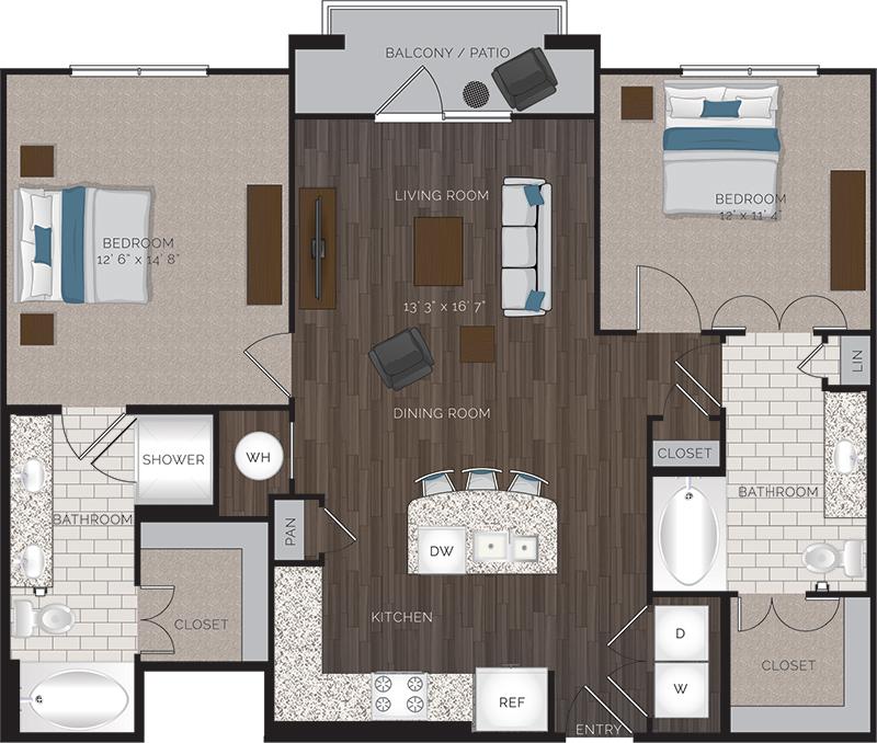 1,127 sq. ft. B1 floor plan