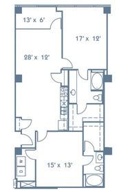 1,228 sq. ft. B4 floor plan
