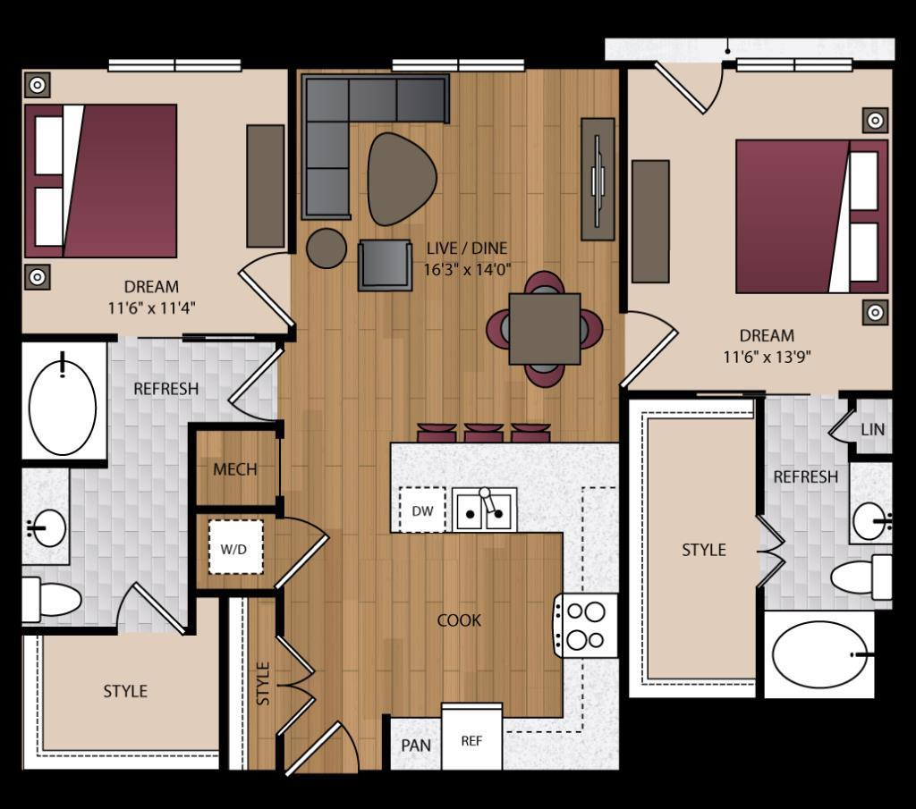 1,157 sq. ft. B1.3 floor plan