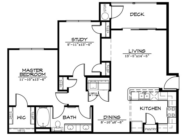983 sq. ft. A1DR floor plan
