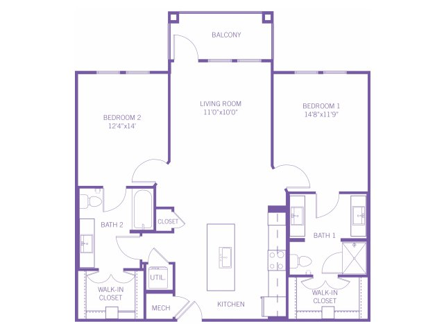 1,119 sq. ft. B2 floor plan