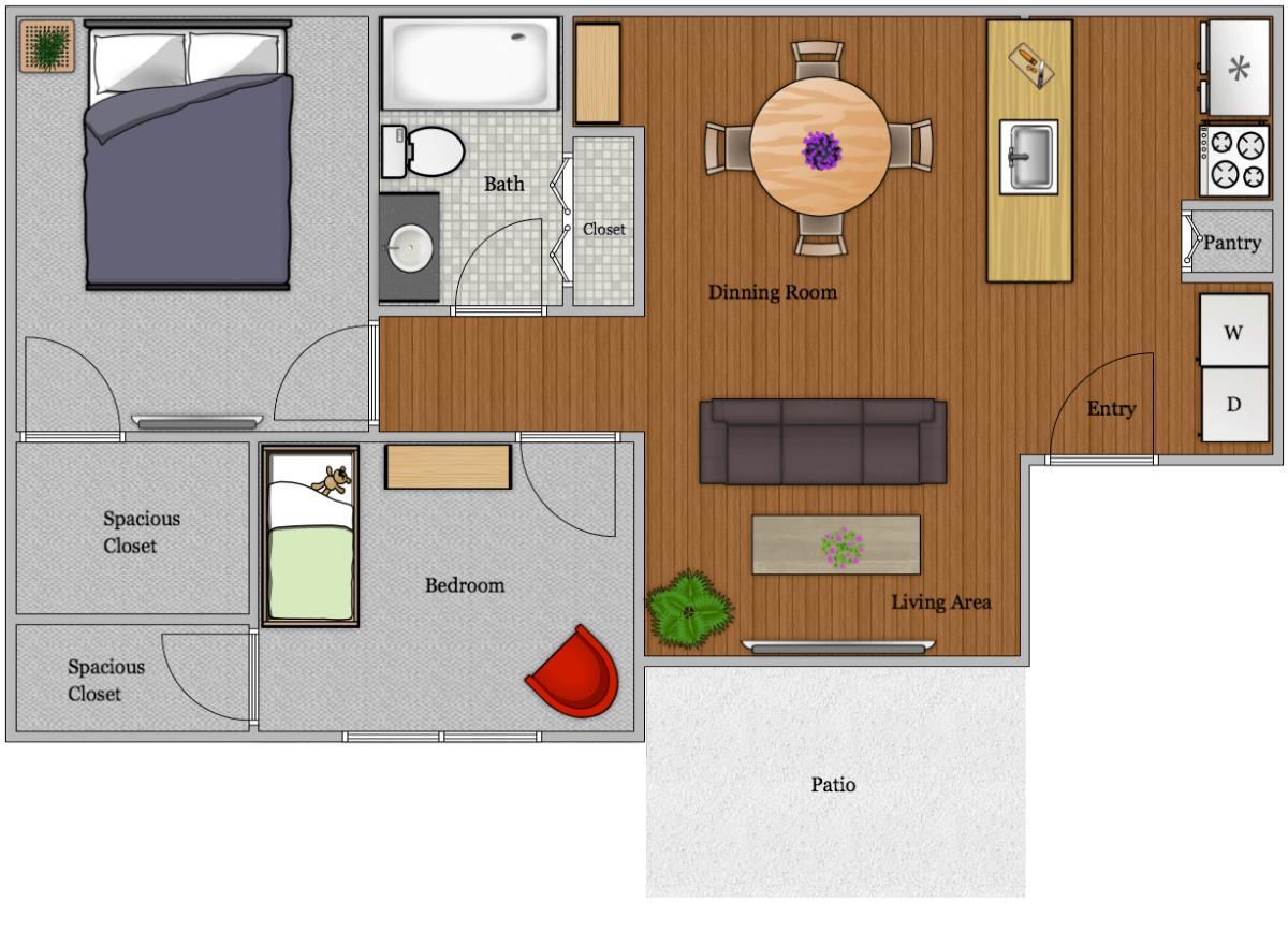 902 sq. ft. B-1 floor plan