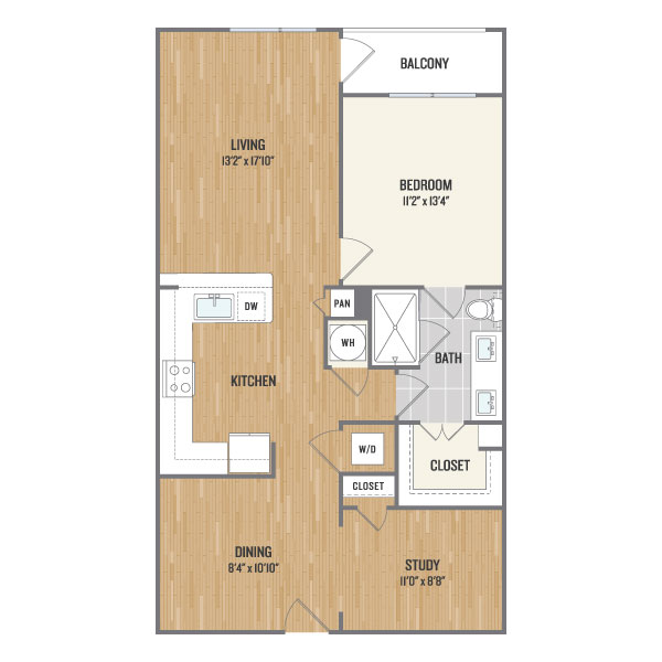913 sq. ft. B3 floor plan