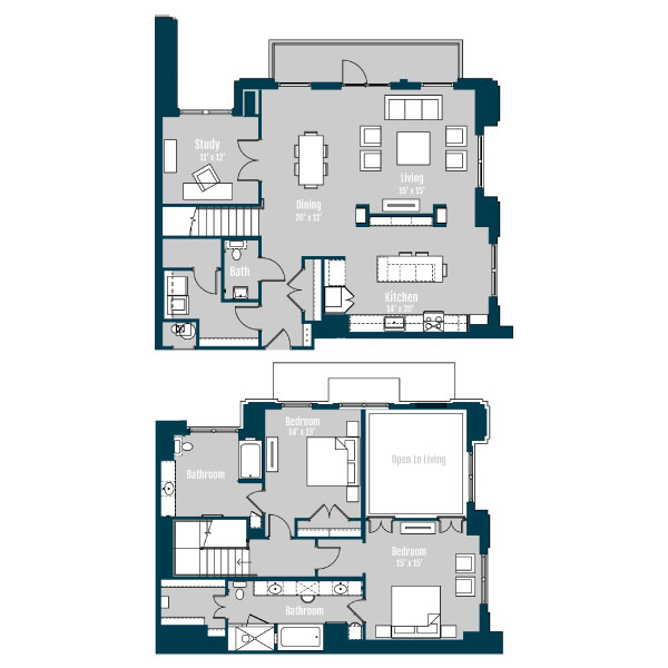 2,361 sq. ft. PH 1 floor plan
