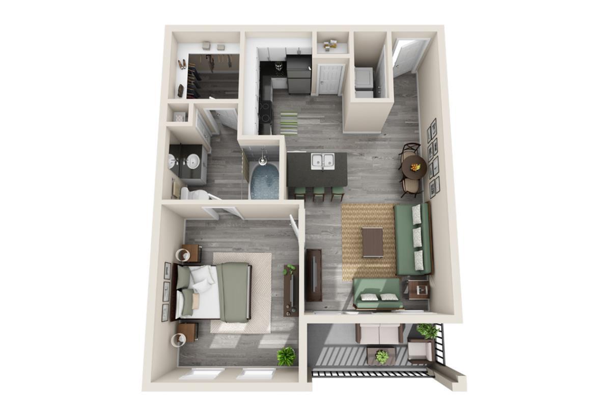658 sq. ft. Barcelona floor plan