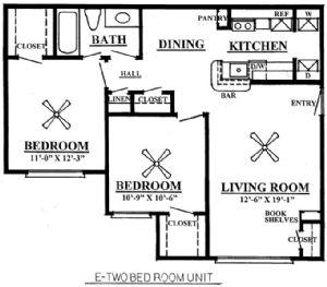 812 sq. ft. D 60% floor plan