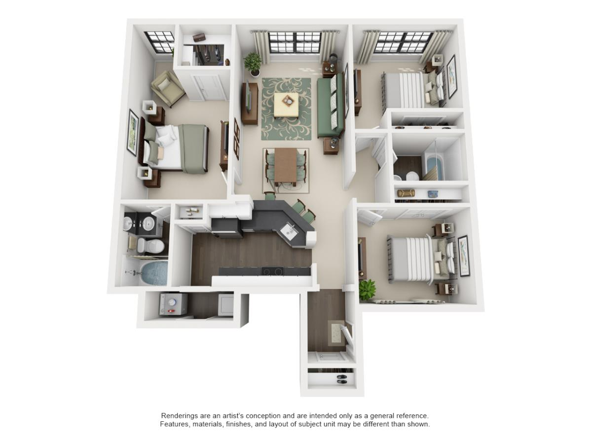 1,188 sq. ft. COLONIAL floor plan