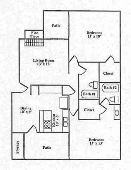 1,143 sq. ft. B2 floor plan