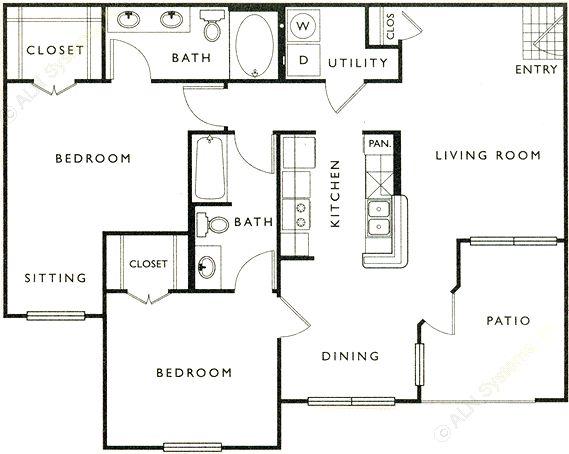 1,088 sq. ft. E floor plan