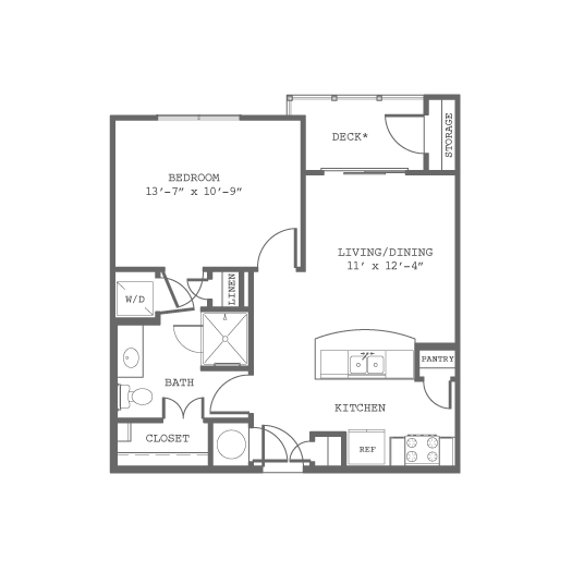 616 sq. ft. A floor plan