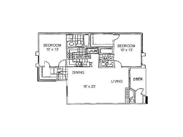 959 sq. ft. B2 floor plan