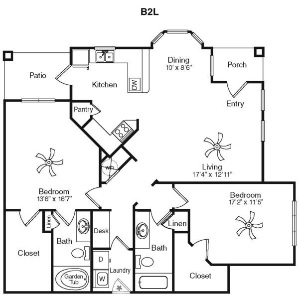 1,327 sq. ft. B2I-2G floor plan