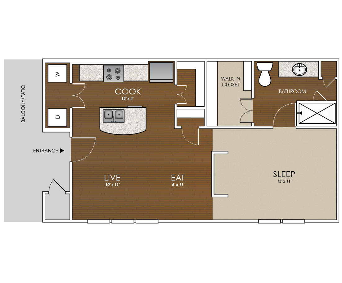 659 sq. ft. to 682 sq. ft. Bluebonnet floor plan