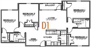 1,336 sq. ft. floor plan