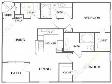 1,127 sq. ft. D floor plan