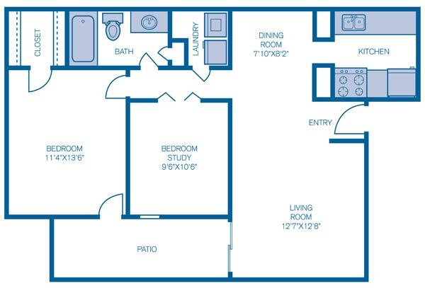 743 sq. ft. Ashton floor plan