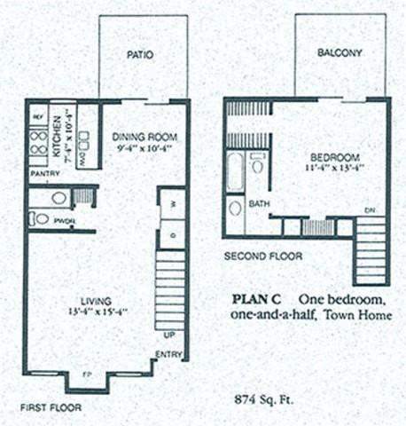 874 sq. ft. C floor plan