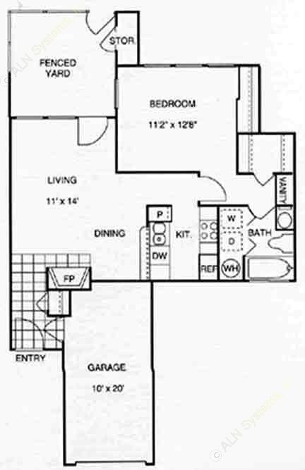 713 sq. ft. A1 w/Gar floor plan