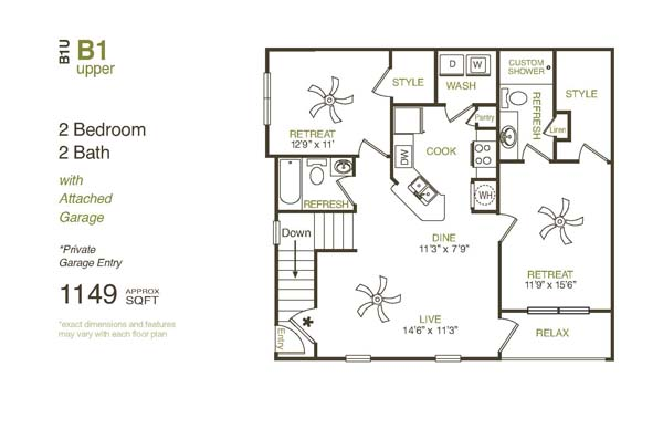 1,149 sq. ft. B1UG floor plan