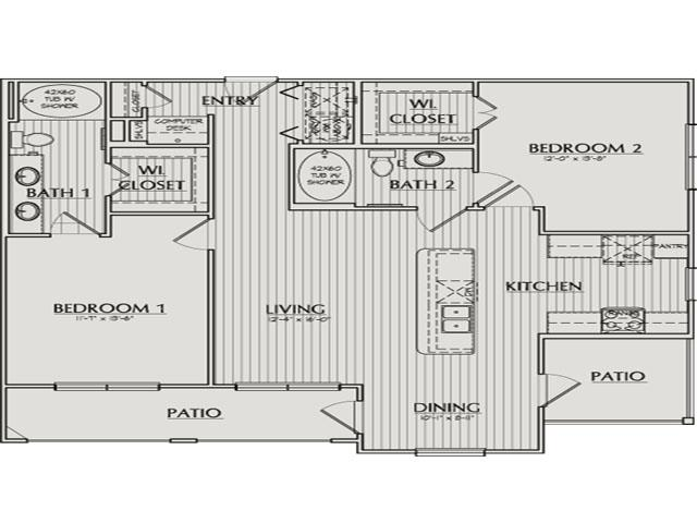 1,153 sq. ft. Rylander floor plan