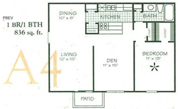 836 sq. ft. A4 floor plan