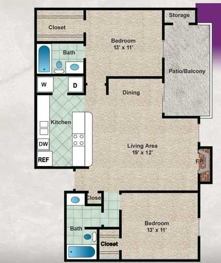975 sq. ft. Bradford floor plan