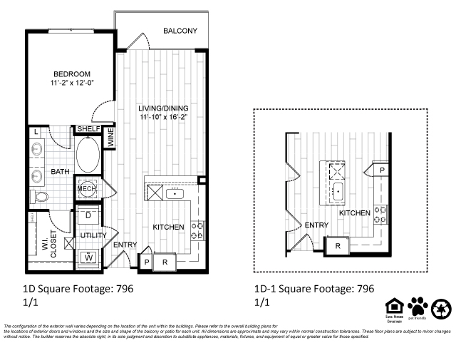 796 sq. ft. 1D1 floor plan