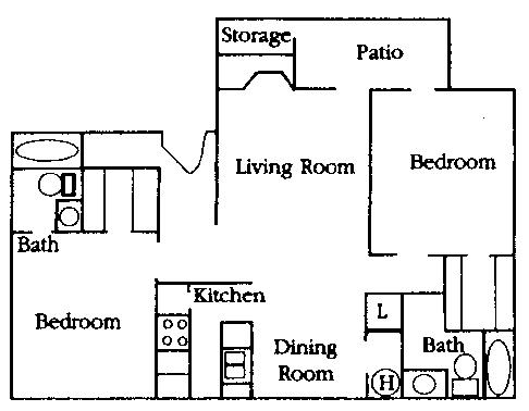 954 sq. ft. B2 floor plan