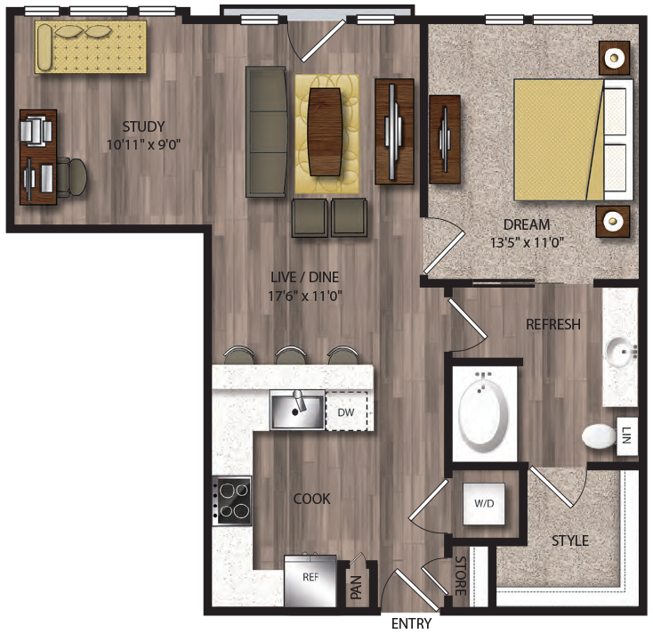 843 sq. ft. A11.1 floor plan