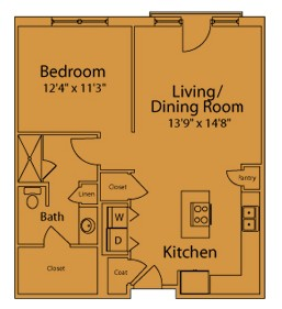 817 sq. ft. BD floor plan