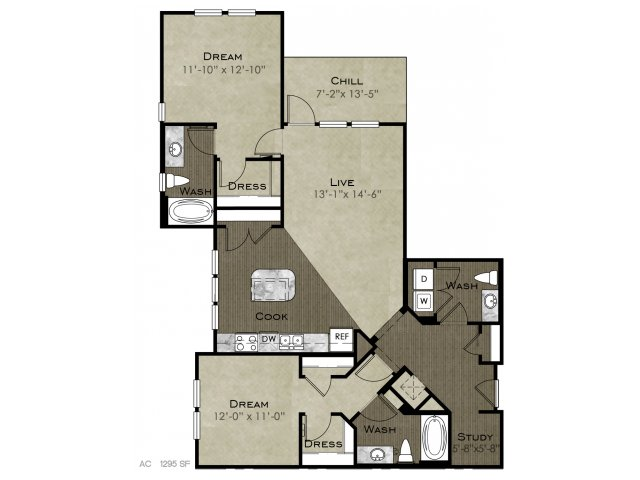 1,295 sq. ft. Vaughan floor plan