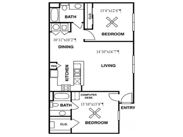 1,084 sq. ft. B2 floor plan