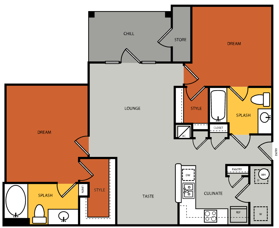 1,118 sq. ft. B2 floor plan
