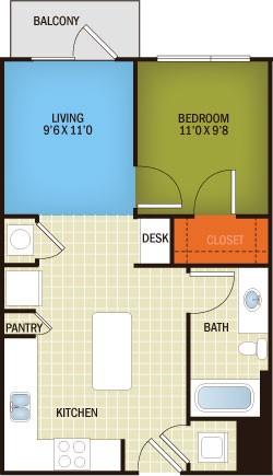 600 sq. ft. Brentwood - S2/80% floor plan