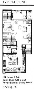 672 sq. ft. C floor plan