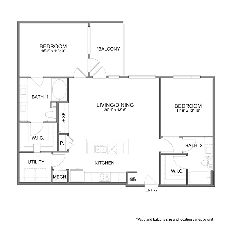 1,254 sq. ft. B3 floor plan