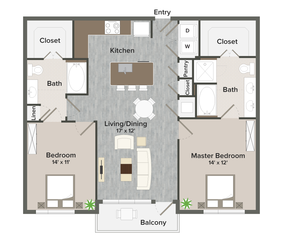 1,116 sq. ft. Oscar-B1 floor plan