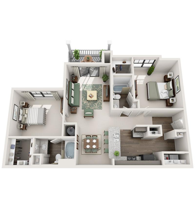 1,198 sq. ft. B4 floor plan