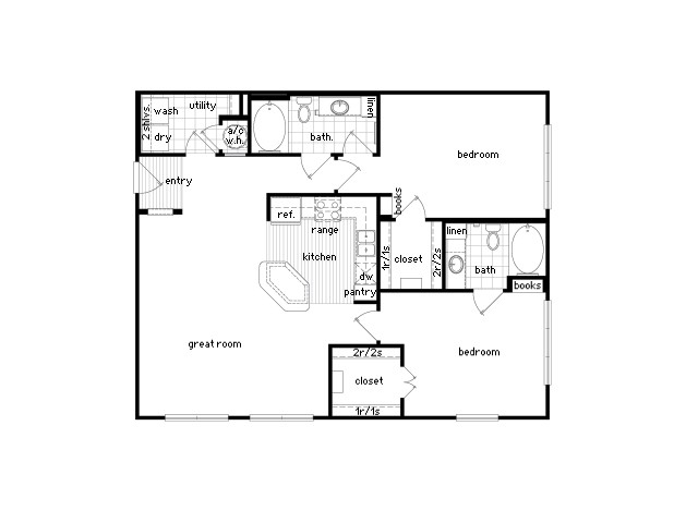 1,209 sq. ft. B1 floor plan