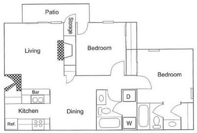 878 sq. ft. B2 floor plan