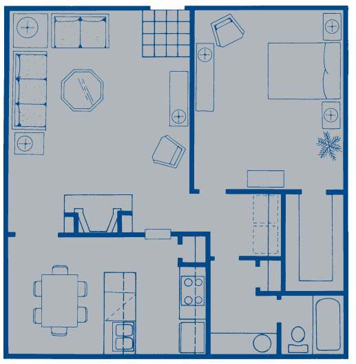 870 sq. ft. A floor plan