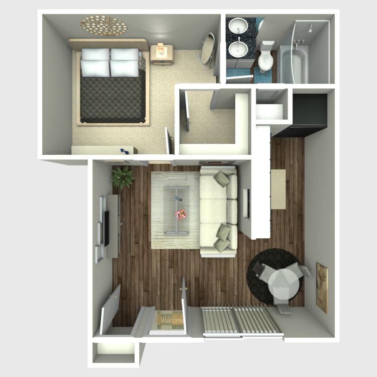 424 sq. ft. A floor plan
