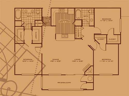 1,468 sq. ft. C2 floor plan