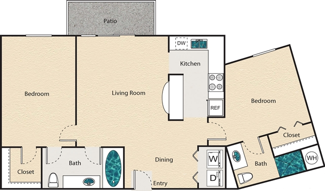 931 sq. ft. I - Lexington floor plan