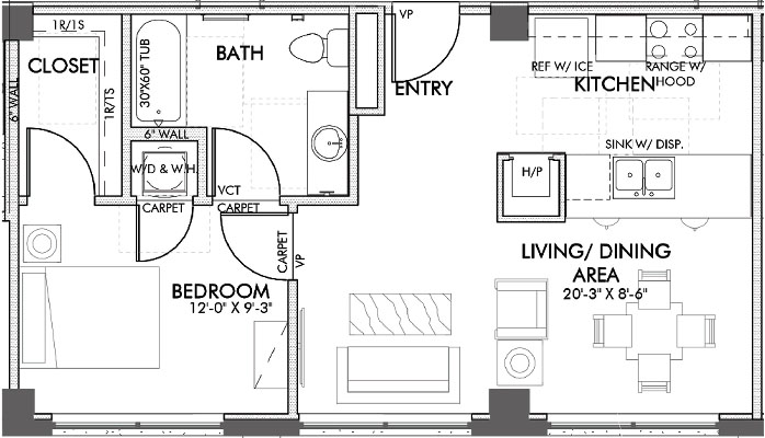 636 sq. ft. Lamar.2 60% floor plan