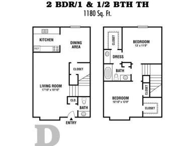 1,180 sq. ft. 2X1&1/2A TH/60% floor plan