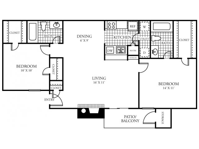 946 sq. ft. D floor plan