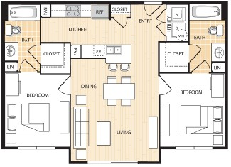 836 sq. ft. B1 floor plan