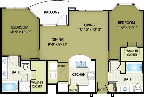 1,141 sq. ft. ARMANI floor plan