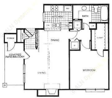 675 sq. ft. A2 floor plan